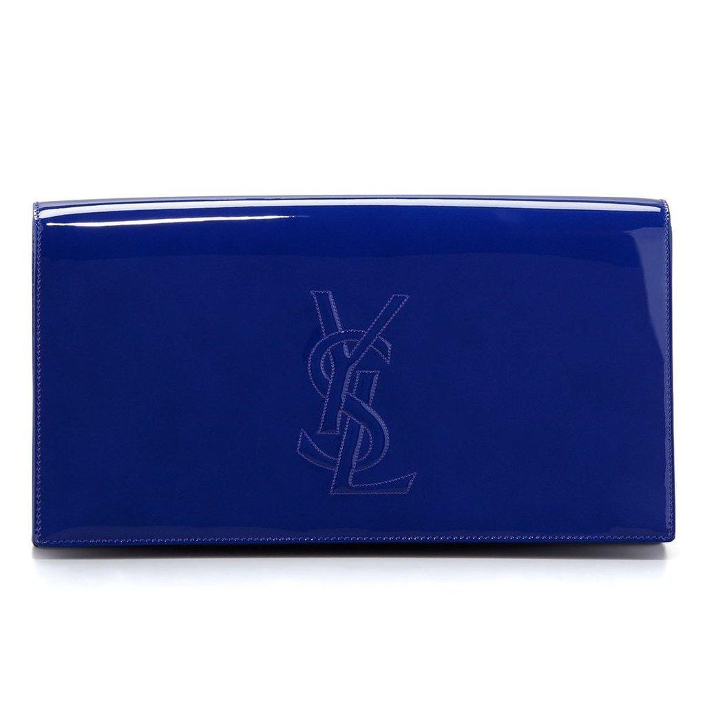 5779adfafd5 YSL Saint Laurent Belle Du Jour Neon Blue Patent Leather Clutch Handbag  361120