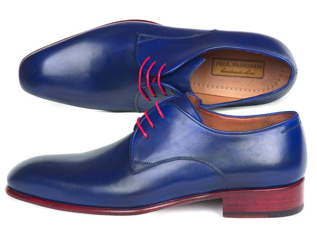 3a3282dc7740e Paul Parkman Blue Hand Painted Derby Shoes (ID#633BLU13)