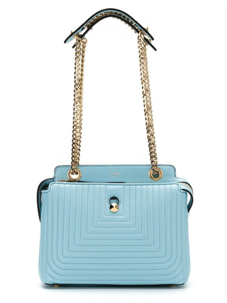 5525764742e2 Fendi Dotcom Click Turquoise Small Quilted Lambskin Leather Chain ...
