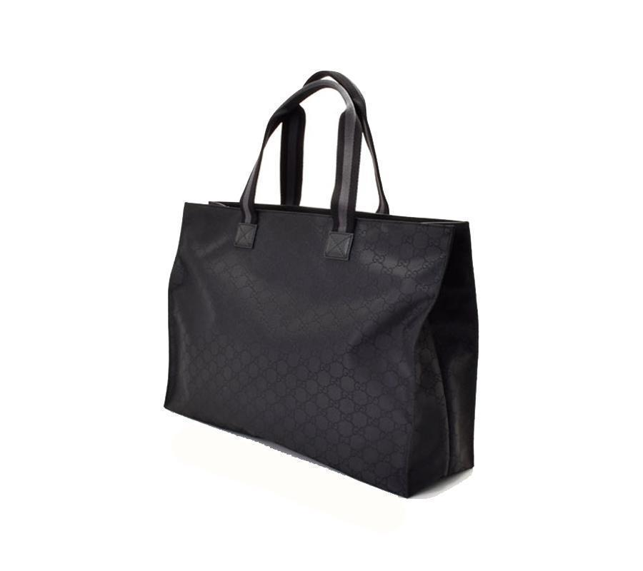 cf86b89080f1 Gucci Unisex Black GG Nylon Canvas Web Viaggio Collection Tote Bag 449176