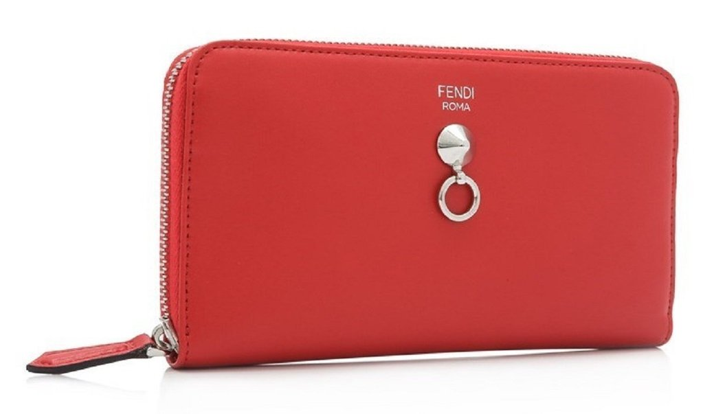 009585e511 Fendi By The Way Red Leather Continental Full Zip Stud Wallet 8M0299-F0ADR