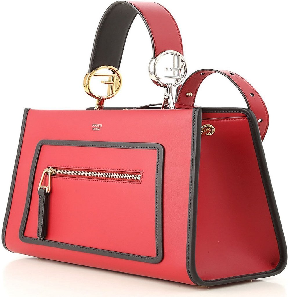 8f358690f9 Fendi Classic Red Runaway 2 Way Calf Leather Shopping Tote Handbag 8BH344