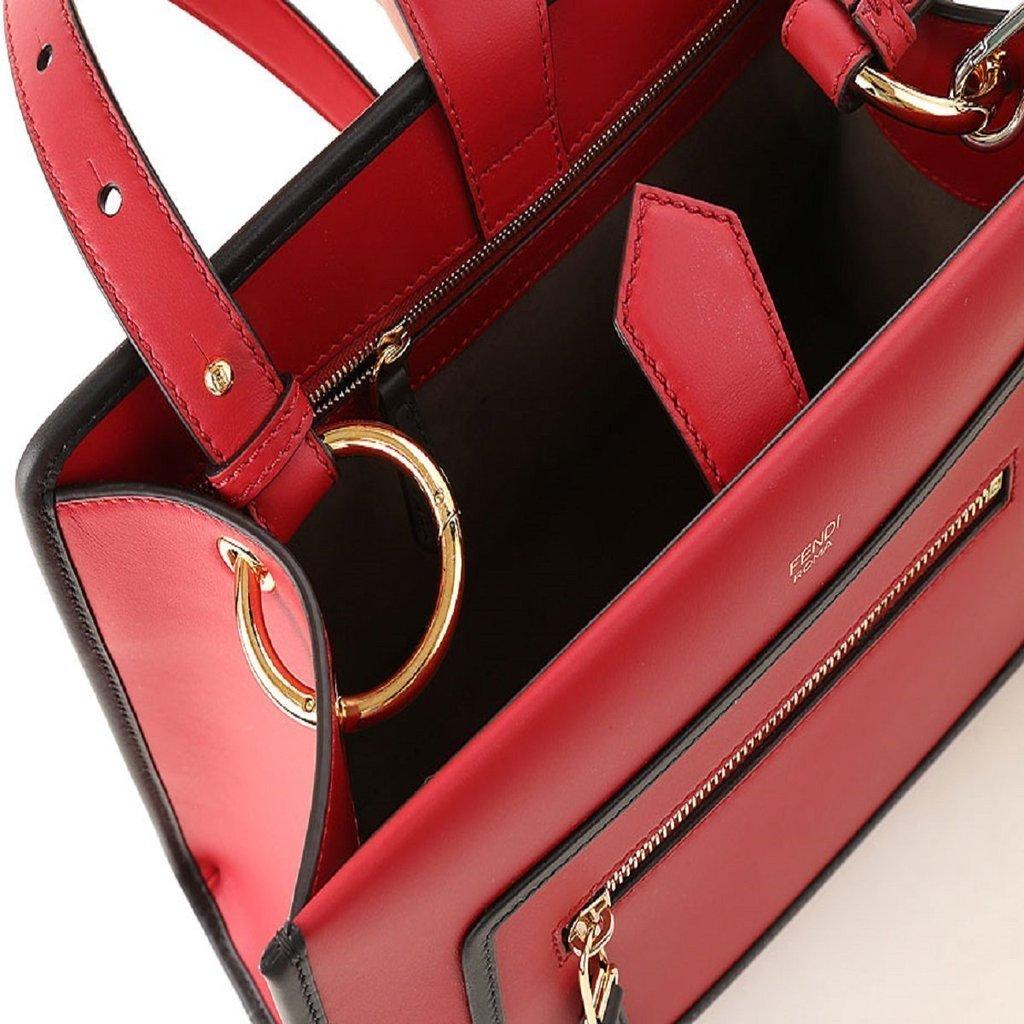 47db2c1afbe2 Fendi Classic Red Runaway 2 Way Calf Leather Shopping Tote Handbag 8BH344