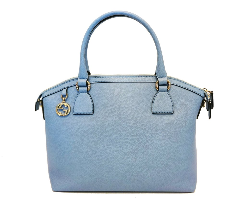 f35db763927 Gucci Women s GG Charm Blue Leather Medium Convertible Dome Bag 449651