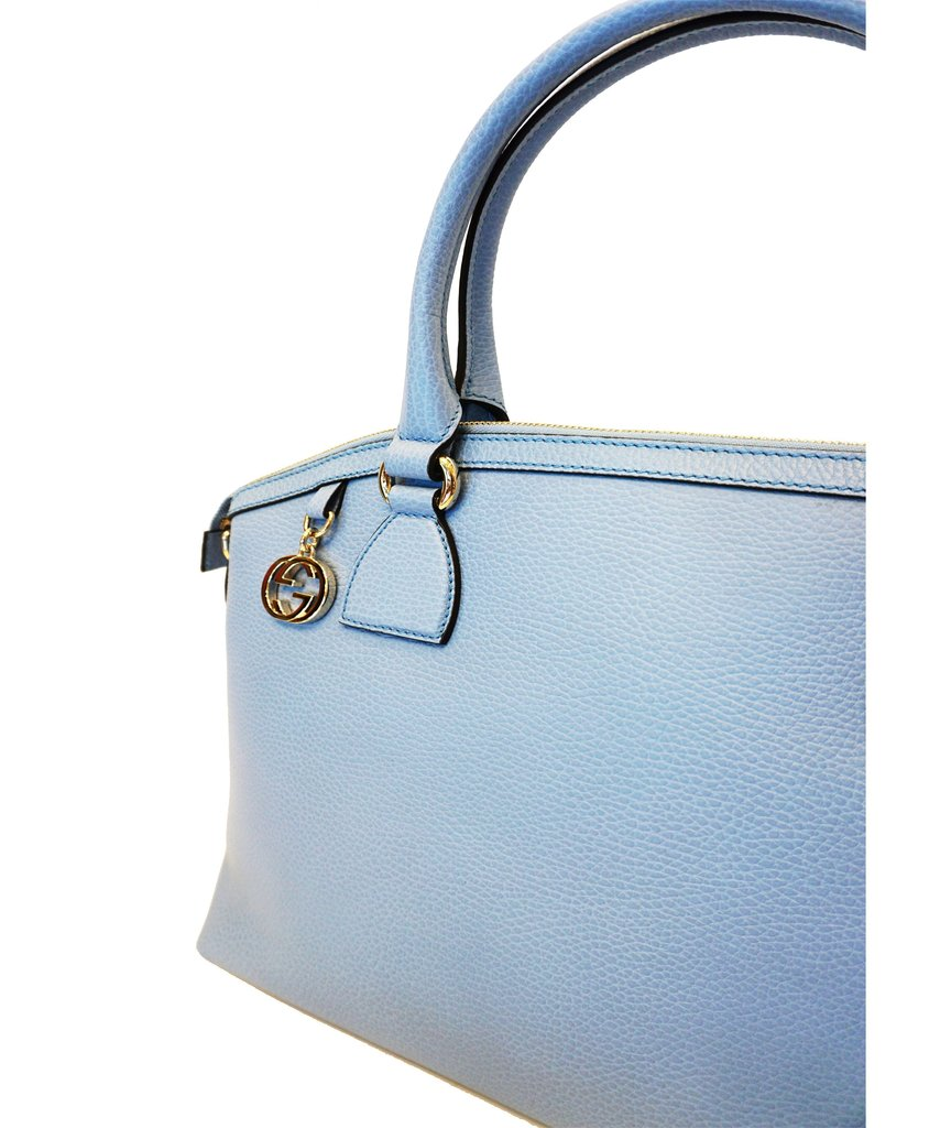 26be723882db Gucci Women's GG Charm Blue Leather Medium Convertible Dome Bag 449651