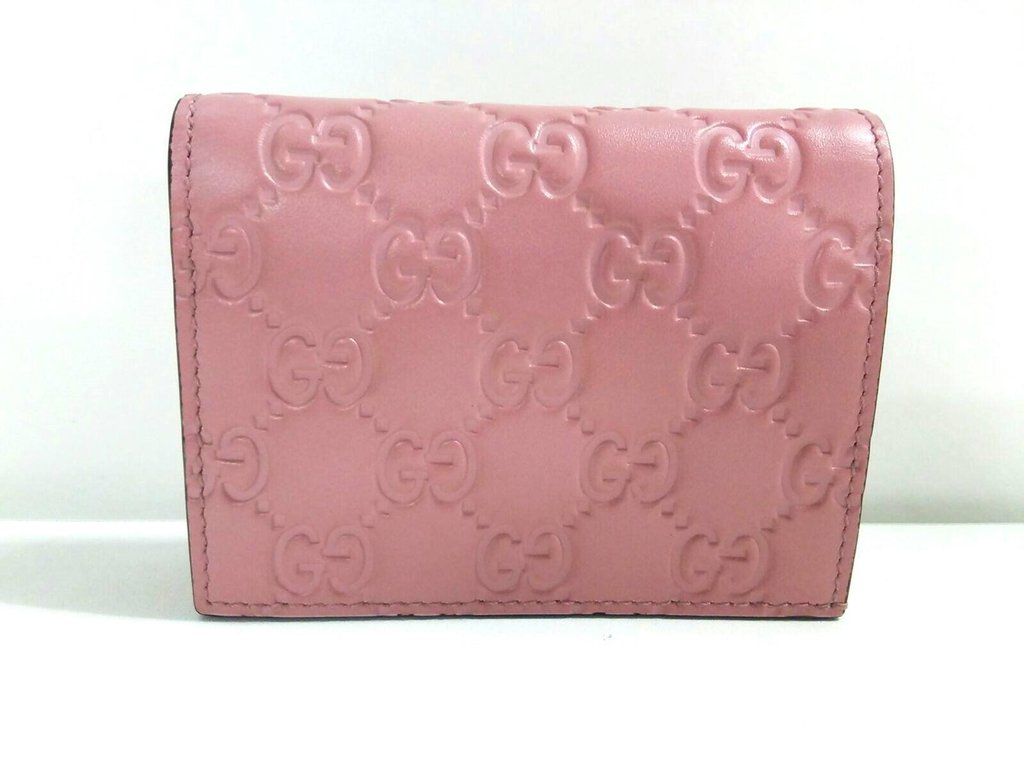 7f53c10ddc416 Gucci Signature GG Continental Flap Card Case Wallet Leather Pink ...