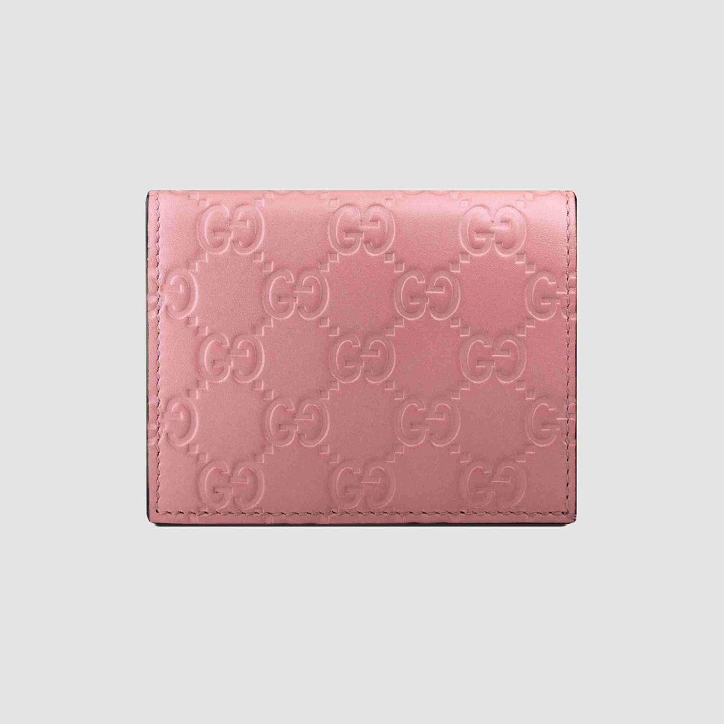 bdf0322d Gucci Signature GG Continental Flap Card Case Wallet Leather Pink ...