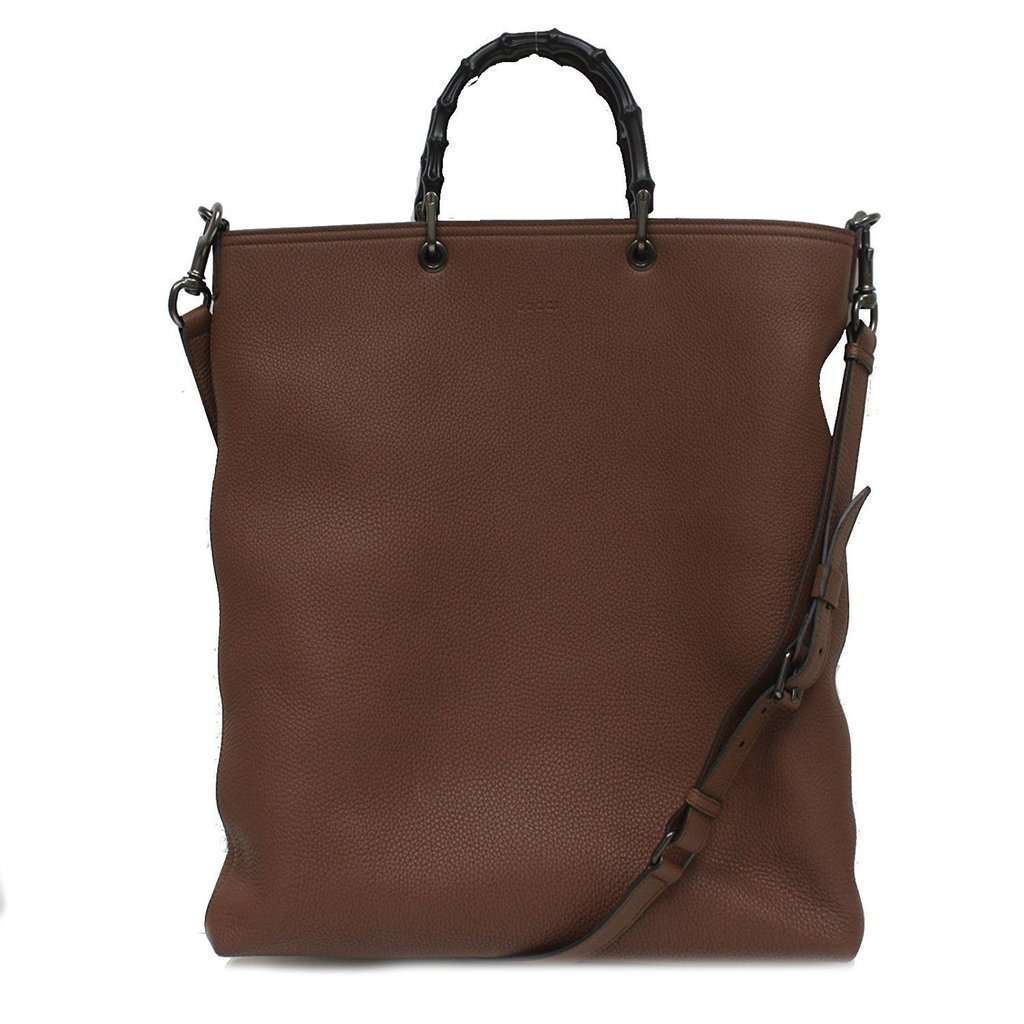 Gucci Brown Leather Bamboo Handle Per Tote Bag With Shoulder Strap 358217