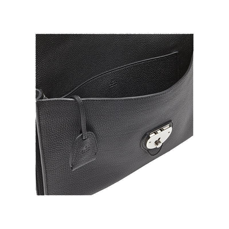 a67f6a559439 Gucci Men's Black Grand Prix Portfolio Leather Weekend/Travel Bag 353405