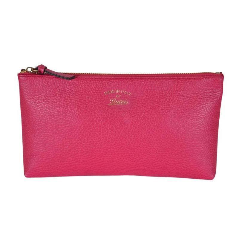 68d8f715e726 Gucci Pink Grained Calf Italian Leather Trademark-Embossed Swing Clutch  368881