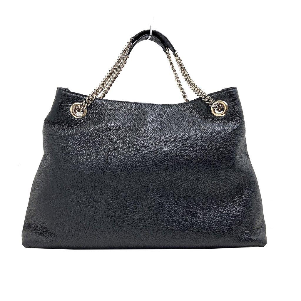 e864940a1ae877 Gucci Women's Black Cellarius GG Logo Leather Soho Satchel Chain Handbag  308982