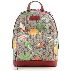 0c602e6fa4fa0f Gucci Beige/Brown Supreme Logo Canvas Tian Animal Print Backpack Bag 427042